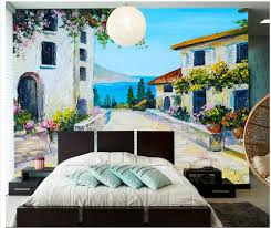 hand painted mediterranean stone slab garden cottage with backdrop hand painted mediterranean stone slab garden cottage with backdrop mural 3d wallpaper home decoration in wallpapers from home improvement on aliexpress com
