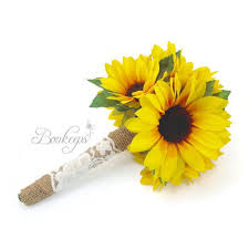 wedding flowers sunflowers sunflower bouquet with burlap and ivory lace sunflower bridal