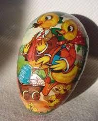 german paper mache easter eggs vintage 4 5 paper mache easter egg duck baby rabbit carriage