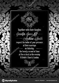Black And White Invitation Card Vintage Baroque Style Wedding Invitation Card Template Elegant