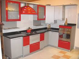 stunning modern open kitchen design with red cabinet as well black