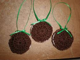 free set of 3 handmade crochet oreo cookie christmas ornaments