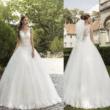 garden wedding dresses 2015 garden wedding dresses gown lace appliques sheer crew