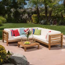 Wooden Outdoor Lounge Furniture Oana Outdoor 4 Piece Acacia Wood Sectional Sofa Set With Cushions