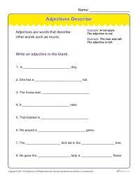 adjectives describe printable adjectives worksheet