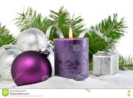 christmas background with candle and decorations purple and silver