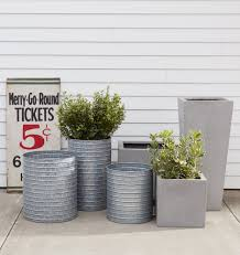 Square Metal Planter by Ribbed Galvanized Metal Planter Metal Planters Galvanized Metal