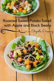 roasted sweet potato salad with apple and black beans in chipotle