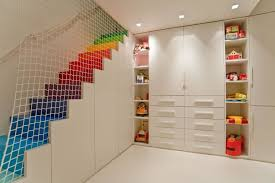 Furniture Smart Kids Stairs With Colorful Steps And Safety Nets - Kids room decor cheap