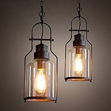 Lantern Ceiling Light Fixtures Industrial 1 Light Rust Metal Glass Lantern Pendant Light Ceiling