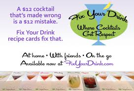 cocktail recipe cards fyd promo postcards fix your drink cocktail recipe cards
