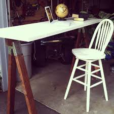Diy Stand Up Desk Ikea by Furniture Mesmerizing Light Wood Sawhorse Desk With Shelves And
