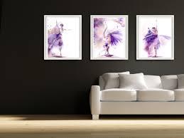 set of 3 art prints ballet print set wall art prints watercolor