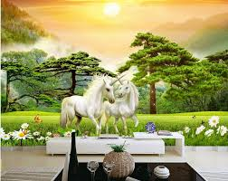 online get cheap unicorn 3d wallpaper aliexpress com alibaba group custom mural 3d wallpaper unicorn forest grassland decor painting picture 3d wall murals wallpaper for living