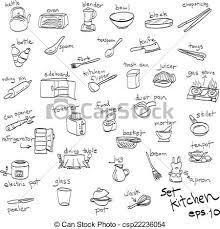 objets de cuisine ensemble cuisine objets doodles dessiné clipart