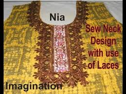 Design On Neck Sew Designer Neck Design With Use Of Laces