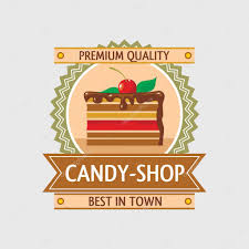 candy shop label with a piece of cake icon in the frame with