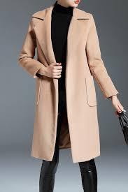 nordicwinds khaki wool blend lapel wrap coat coats at dezzal