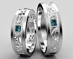 blue diamond wedding rings blue diamond wedding ring princess cut blue diamond matching