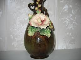 Austrian Vases Antique Antique Austrian Abstract Hollyhock Floral Pottery Flower Vase