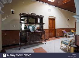 interior of rest house on hill station sri lanka stock photo