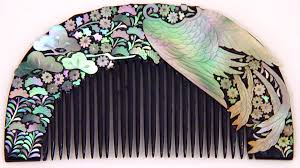 vintage comb vintage lacquered kushi japanese hair comb inlaid with abalone