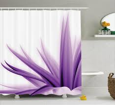 Dc Shower Curtain Flower Decor Shower Curtain Purple Ombre Long Leaves Water