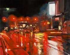 centurylink internet light red wet sunday morning 16x24inches oil on panel by toby davis www