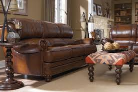 Traditional Leather Sofas Traditional Leather Sofa With Turned Arms And Nail Head Trim By La