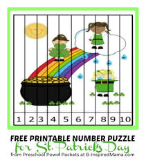 kids printable number puzzle for st patrick u0027s day