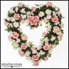 funeral wreaths 22in heart shaped wreath pink white