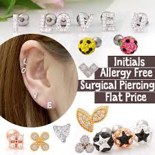 surgical steel earrings allergy qoo10 flat price initials earrings allergy free surgical