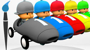 learn colors talking pocoyo cars painting learning colours