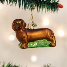 world dachshund glass tree ornament 3 25 inch