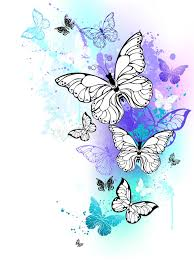 flying butterflies watercolor stock vector illustration of