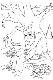 scary halloween coloring pages scary halloween tree witch
