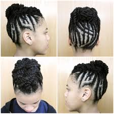 protective style intricate braided updo short natural hair
