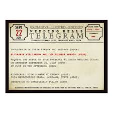 telegram wedding invitation vintage telegram invitation postcard zazzle