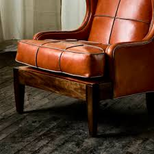 Good Reading Chair Royal Chair With Tomato Leather And Limestone Leather Piping