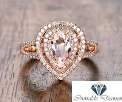 morganite pear engagement ring 6x8mm pear shape halo morganite engagement ring split
