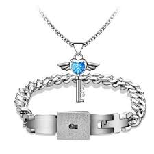 heart key necklace images Titanium men bracelet heart key necklace jpg