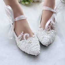 princess wedding shoes flats pearls lace princess wedding white bridal