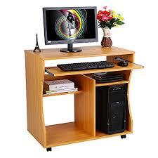 Charles Jacobs Computer Desk Wooden Portable Computer Trolley Desk Keyboard Storage Shelves