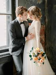 discount gorgeous lace wedding dress long sleeves backless