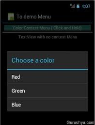 android menu android context menus gurushya