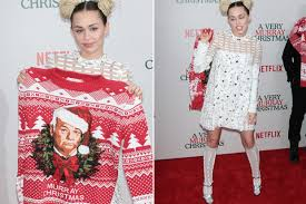 murray sweater miley cyrus shows bill murray sweater celebuzz