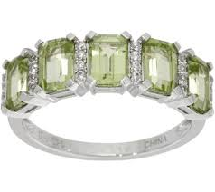 silver band emerald cut 5 peridot sterling silver band ring 2 50 cttw
