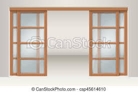wooden and glass doors vector clip art of sliding glass doors with wooden lintels