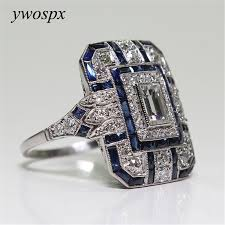 square rings jewelry images Ywospx luxury silver big square rings for women jewelry wedding jpg