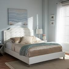 carlotta white modern bed with upholstered headboard free